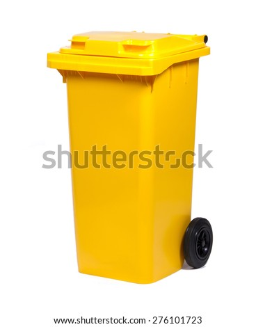 Yellow colorful recycle bin isolated on white background - stock photo