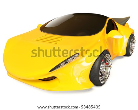 yellow concept car on white background isolated - stock photo