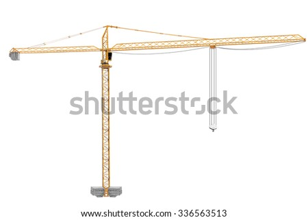 Yellow construction crane tower isolated on white background with clipping path - stock photo
