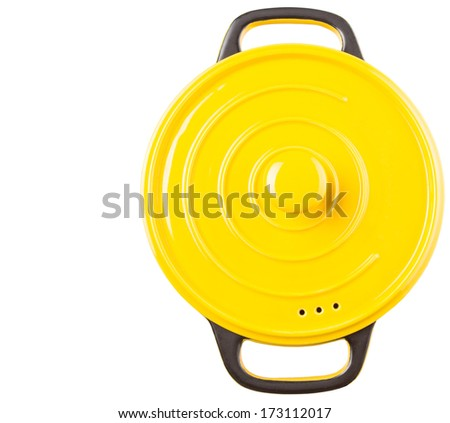 Yellow cooking pot over white background - stock photo
