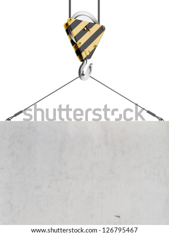 Yellow crane hook lifting - stock photo
