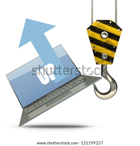 Yellow crane hook lifting laptop isolated on white background High resolution 3d illustration - stock photo