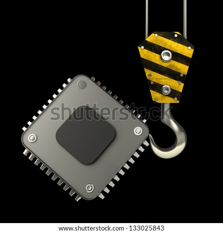 Yellow crane hook lifting Processor unit CPU isolated on black background High resolution 3d illustration - stock photo