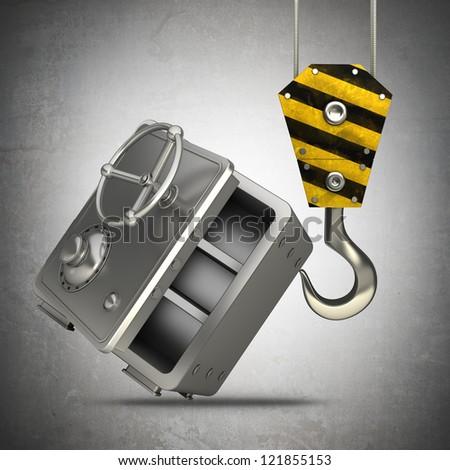 Yellow crane hook lifting steel bank safe High resolution 3d illustration - stock photo
