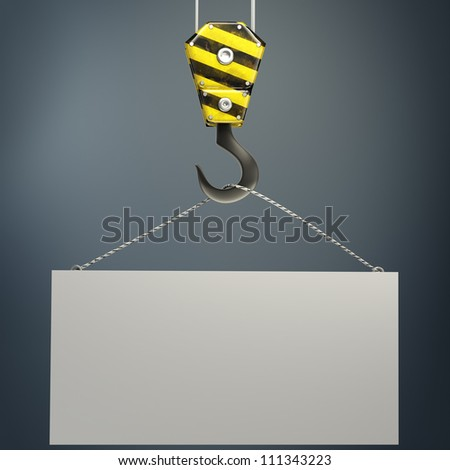 Yellow crane hook lifting white blank plane 3d illustration - stock photo