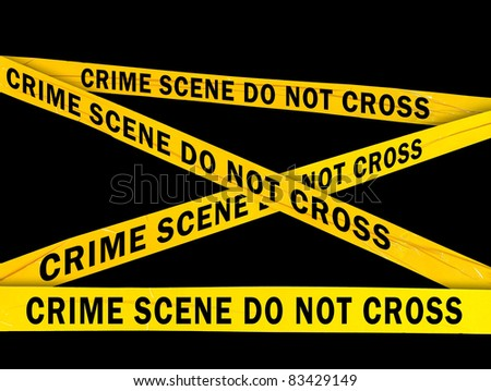 Yellow crime scene barrier tape - stock photo