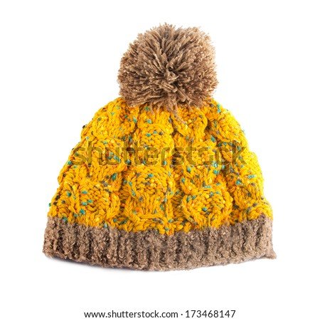 yellow crochet knit hat - stock photo