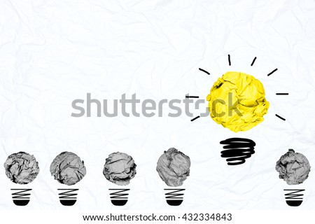 yellow crumpled paper light bulb with blue white paper background creative inspiration concept metaphor for think different idea /another direction /do other way - stock photo
