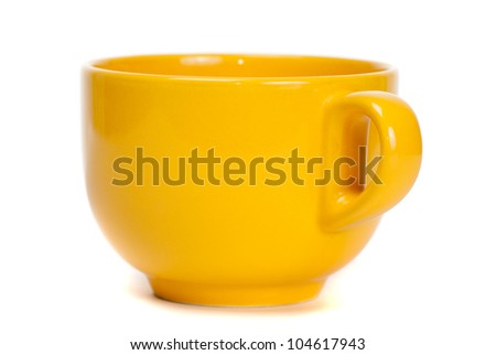 Yellow cup isolated on white background - stock photo