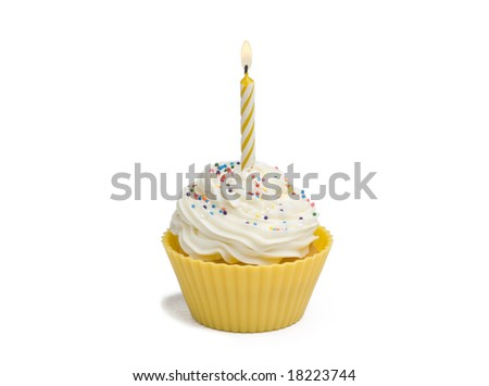 Yellow cupcake with candle on white background - stock photo