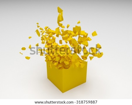 Yellow 3D cube object explosion with random particles - stock photo