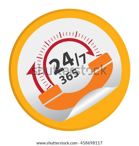 Yellow 24/7 365 Days Call Center Infographics Icon on Circle Peeling Sticker Isolated on White Background  - stock photo