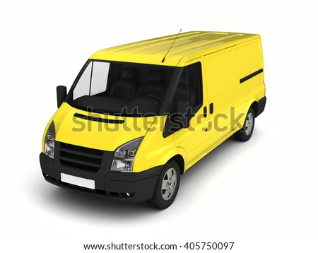 Yellow delivery van on a white background.3D illustration. - stock photo