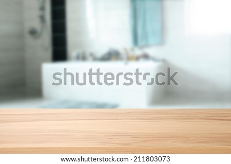 yellow desk and bathroom  - stock photo