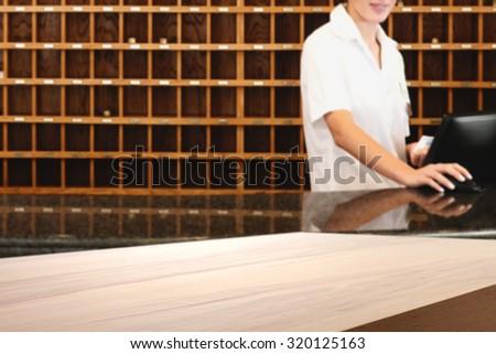 yellow desk in hotel  - stock photo