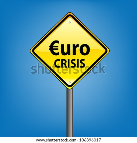 Yellow diamond hazard warning sign against blue sky - euro crisis indication - stock photo