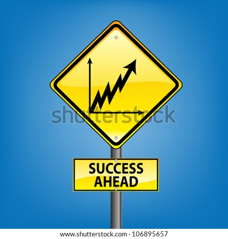 Yellow diamond hazard warning sign against blue sky - success ahead indication - stock photo