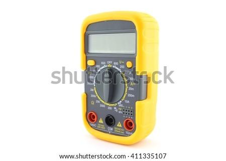 Yellow digital multimeter, isolated - stock photo