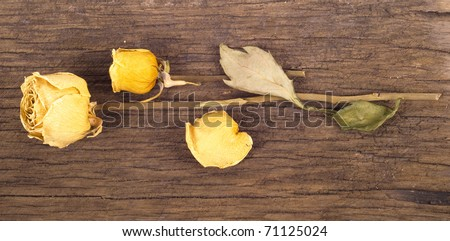 Yellow dried rose on an old wooden blackboard - stock photo