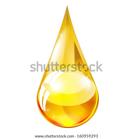yellow drop of oil isolated on white background raster - stock photo