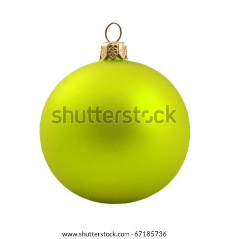 Yellow dull christmas ball on white background - stock photo