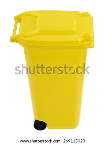 Yellow dustbin - stock photo