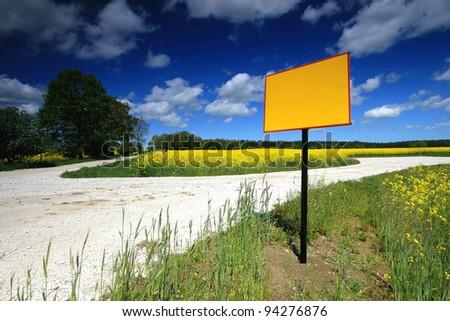 Yellow empty billboard - add your text - stock photo