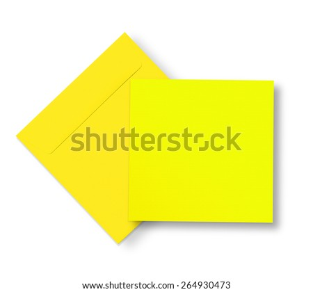 Yellow envelope and card on white with shadow - stock photo