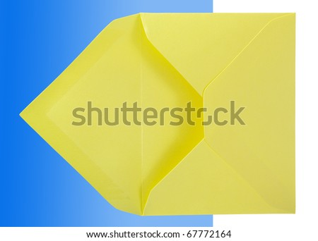Yellow envelope isolated on the blue-white surface. - stock photo