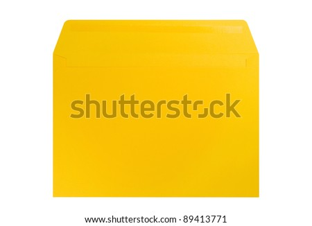 Yellow envelope isolated on white - stock photo