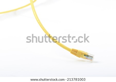 Yellow ethernet Line isolated on white. - stock photo