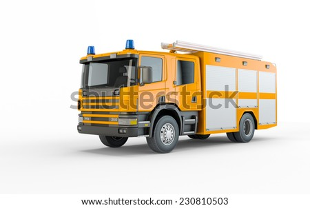 Yellow Firetruck isolated on a white background - stock photo
