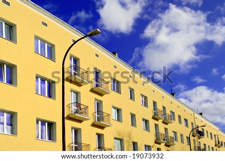 Yellow flats. Modern style. Warsaw in Poland. - stock photo