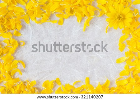 Yellow flower petals The frame is made with flowers - stock photo