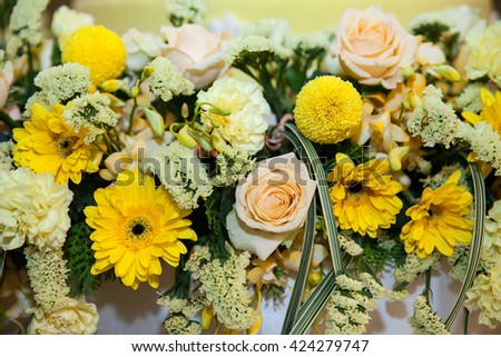 Yellow flowers Bouquet. - stock photo