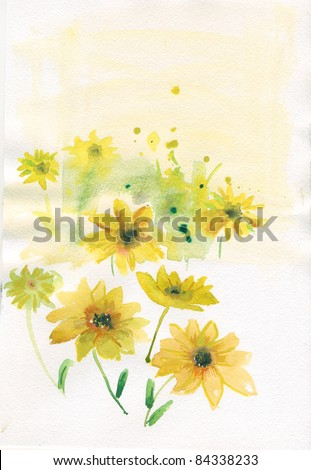 yellow flowers. watercolor - stock photo