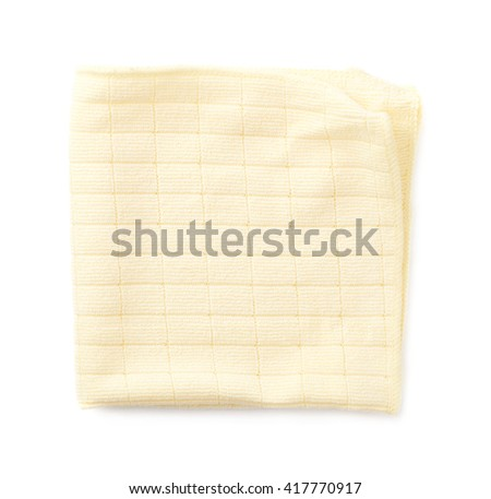 Yellow folded rag over white isolated background - stock photo