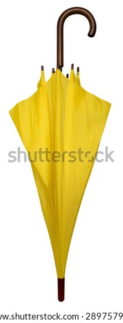 Yellow folded umbrella isolated on white. Clipping path included. - stock photo