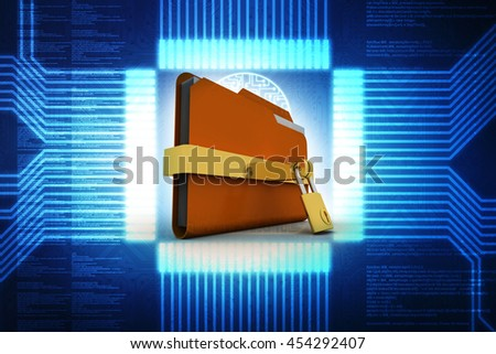 Yellow folder and lock. Data security concept. 3D illlustration - stock photo