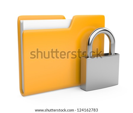 Yellow folder and lock. Data security concept. 3d illustration a white background - stock photo