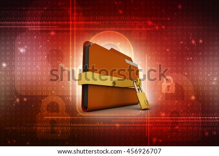 Yellow folder and lock. Data security concept. 3D rendering - stock photo