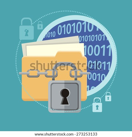 Yellow folder and lock. Data security concept. Data protection and safe work. Concept in flat design style. Web banners, marketing and promotional materials, presentation templates. Raster version - stock photo