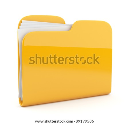Yellow folder. File 3D.  Icon isolated on white background - stock photo