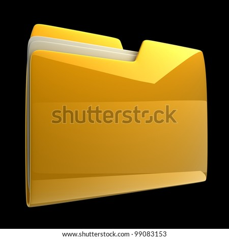 Yellow folder icon isolated on black background High resolution 3D - stock photo