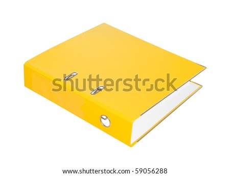 Yellow folder on a white background. Isolated. - stock photo