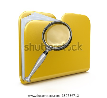 Yellow folder search 3d icon - folder under the magnifier. 3d illustration isolated on white in the design of the information related to computer technology - stock photo