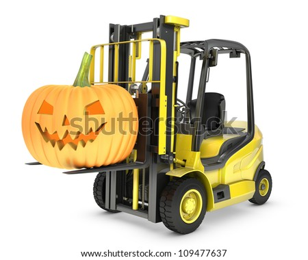 Yellow fork lift truck lifts halloween lantern, isolated on white background - stock photo