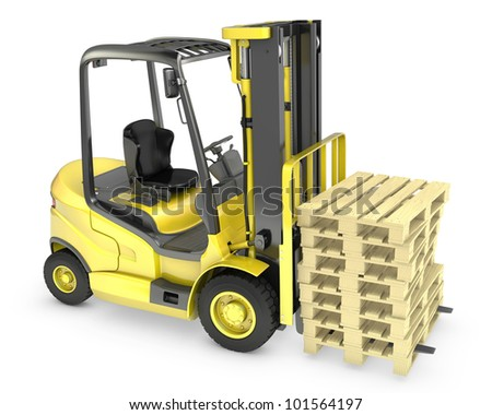 Yellow fork lift truck, with stack of pallets, isolated on white background - stock photo
