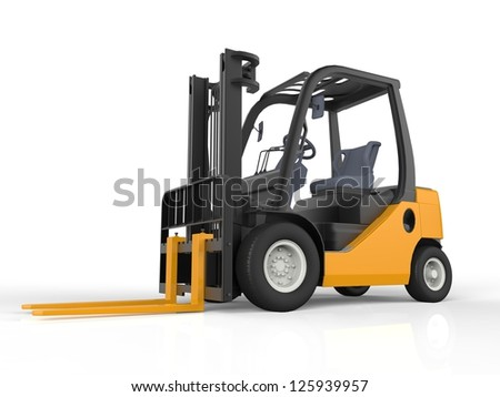 Yellow Forklift Truck, Isolated on White Background - stock photo