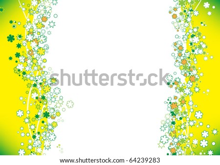 yellow frame background with flowers - stock photo